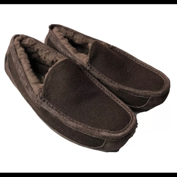 UGG Other - UGG Ascot Suede Wool Moccasin Slippers 8 Espresso